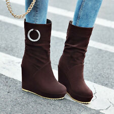 Women Platform High Heel Mid-Calf Boots Pleated Wedge Slip On Round Toe Shoes