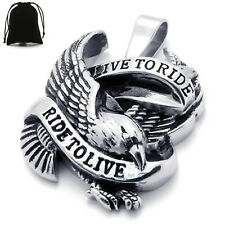 """""""Live to Ride Ride to Live"""" Eagle Mens Stainless Steel Pendant Necklace Unisex"""