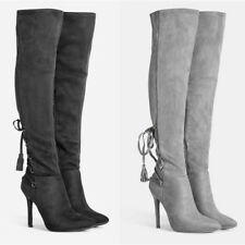 WOMENS SUEDE HIGH STILETTO HEEL OVER KNEE THIGH STRETCH LACE BOOTS SIZE 2-7