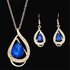 18K Gold Plated Bridal Crystal Earring Necklace Set