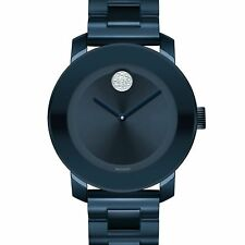 NEW MOVADO WOMENS BOLD CRYSTAL & BLUE STAINLESS STEEL BRACELET WATCH