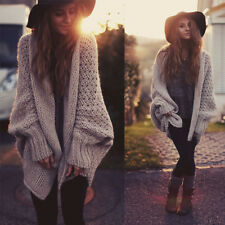 Women's  Autumn Winter Outerwear Long Knit Bat Sleeve Cardigan Sweater Coat Tops