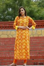 Regular Office Wear Kurta 3/4 Sleeve Long Ethnic Casual Wear Cotton Kurti Sale