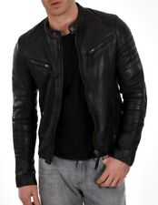 Jacket Leather Motorcycle Mens Black Real Lambskin New Biker Coat Vintage MJ781