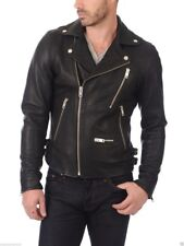Jacket Leather Motorcycle Mens Black Real Lambskin New Biker Coat Vintage MJ840