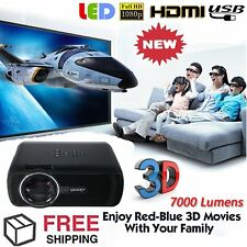7000 Lumen 1080P HD Multimedia Portable Projector 3D LED Home Theater Cinema BS