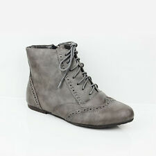 WOMENS LADIES LACE UP OXFORD STYLE BROGUES ANKLE BOOTS BOOTIES SHOES SIZE 3-8