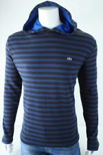 LACOSTE Croc Logo Mens Thermal Waffle Hooded Striped Top NWT $110