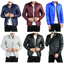 Men Packable Down Puffer Jacket Lightweight Stand Collar Zip Front Coat Outwear