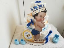 3 Tier Blue & Gold Little Prince Diaper Cake Baby Shower Gift Centerpiece - Boy