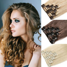 """8PCS 16"""" 18"""" 20"""" 22"""" Real Remy Full Head Clip in 100% Human Hair Extensions J034"""