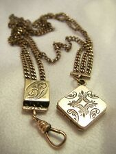 Antique Gold Filled Pocket Watch Chain and Beautifully Engraved Locket & Slide