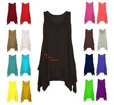 New Ladies Plus Size Hanky Hem Womens Long Sleeveless Scoop Neck Vest Top 8-26