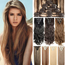US 100% Thick 18Clips Clip in Full Head Hair Extensions Extension As Human Hair