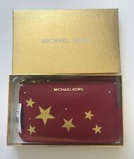 NWT Michael Kors Large Top Zip Wristlet Cherry Red Leather Stars Gift Boxed