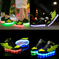 Boys Girls Kids LED Light Up Luminous Shoes USB Charge Casual Sneakers Green