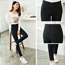 Women Slim High Elastic Skinny Denim Jeans High Waist Stretch Pencil Pants QK