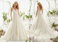 hot  new v-neck a-line lace wedding dress bridal gown custom 6 8 10 12 14 16 18+
