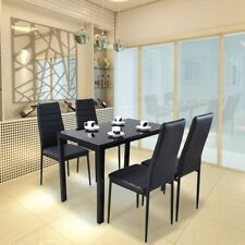 Black White Dining Table And 4/6 Chairs Glass Table + Shelf Faux Leather Chairs