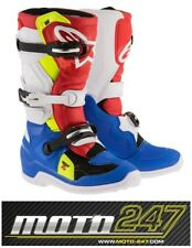ALPINESTARS TECH 7 S YOUTH MOTOCROSS MX BOOTS BLUE / WHITE / RED / YELLOW FLO