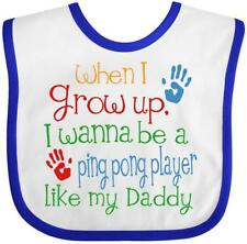 Inktastic Ping Pong Player Like Daddy Baby Bib Childs Kids Gift Player's Son My
