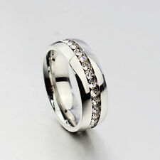 Free Shipping CZ Stainless Steel Ring Mens Jewelry Titanium Ring Wedding Bands