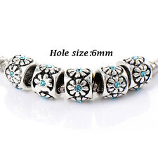 10pcs silver plated crystal Charm Flower Beads Fit Bracelets Fashion European