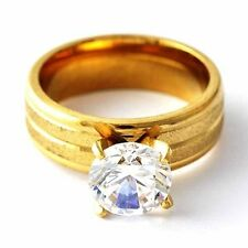 Vintage Womens 14K gold filled Crystal Jewelry Wedding Band Ring Size 6 7 8 9