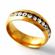 Womens 14K gold filled Cubic Zirconia Interval Band Ring Size 6-9 Jewelry