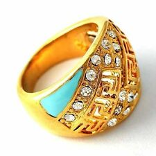 14K gold filled Clear Gemstone /Turquoise Womens vintage Ring  Size 7 8