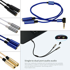 90 Degree Right Angle 3.5mm Jack 1 Male To 2 Female Audio Stereo Aux Cable Cord