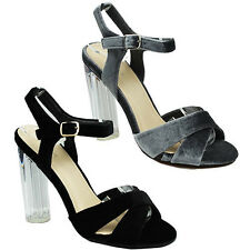 WOMENS LADIES STRAPPY HIGH BLOCK HEEL ANKLE STRAP BUCKLE SANDALS SHOES SIZE 3-8