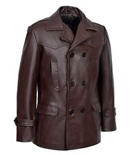 Dr Who Brown Men's smart fitting Military Real cowhide classic Leather Jacket