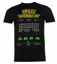 MENS OFFICIAL GAMING CREW NECK PRINTED  T SHIRT TEE SHIRT SPACE INVADERS BLACK