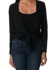 BNWT LADIES BLACK COTTON OPEN CARDIGAN SIZE 10 12 16 TIE FRONT