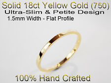 18ct 750 Solid Yellow Gold Ring Wedding Friendship Friend Flat Band 1.5mm