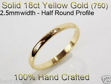 18ct 750 Solid Yellow Gold Ring Wedding Friendship Friend Half Round Band 2.5mm