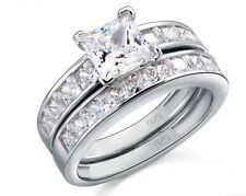 925 Sterling Silver 2-Pcs Wedding Engagement Ring Set 1.0 Ct Princess cut - 4