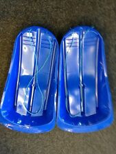 Pack of  2 Delta Snow Sledge, Blue or Pink, Plastic Toboggan Sledges with rope
