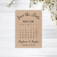 CALENDAR SAVE THE DATE CARDS PERSONALISED INVITATIONS WEDDING KRAFT RECYCLED