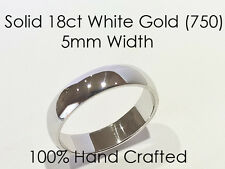 18ct 750 Solid White Gold Ring Wedding Engagement Friendship Half Round Band 5mm