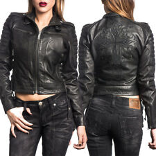 Affliction Blacktail 111OW056 Cross Womens Zip Genuine Leather Moto Jacket XS-XL