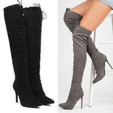 WOMENS LADIES OVER KNEE STILETTO HEEL THIGH STRETCH LACE BOOTS SHOES SIZE 2-7
