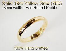 18ct 750 Solid Yellow Gold Ring Wedding Friendship Friend Half Round Band 3mm