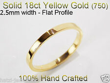 18ct 750 Solid Yellow Gold Ring Wedding Friendship Friend Flat Band 2.5mm