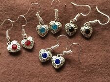 HEART AND CRYSTAL EARRINGS RED BLUE BLACK TEAL SILVER HYPO-ALLERGENIC