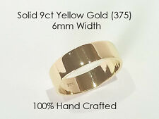 9ct 375 Solid Yellow Gold Ring Wedding Engagement Friendship Flat Band 6mm