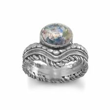 Oxidized Oval Ancient Roman Glass Ring with Ornate Band