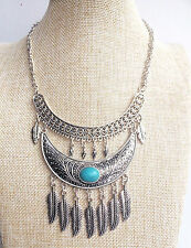 Silver Turquoise Feather Free Spirit Gypsy Tassel Bohemian People Necklace
