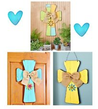 💗 2 FEET TALL Oversized Wooden Crosses Wall Hanging Wood Cross with Burlap Bow